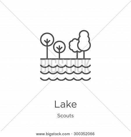 Lake Icon Isolated On White Background From Scouts Collection. Lake Icon Trendy And Modern Lake Symb