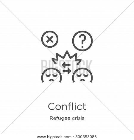 Conflict Icon Isolated On White Background From Refugee Crisis Collection. Conflict Icon Trendy And
