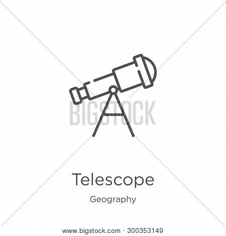 Telescope Icon Isolated On White Background From Geography Collection. Telescope Icon Trendy And Mod