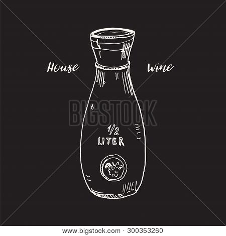 Glass Wine Or Water Carafe Vector Illustration Isolated On Blackboard. Hand Drawn Chalk Sketch. Ital