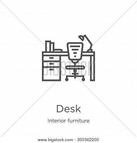 Desk Icon Isolated On White Background From Interior Furniture Collection. Desk Icon Trendy And Mode