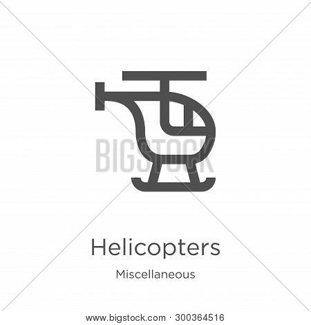 Helicopters Icon Isolated On White Background From Miscellaneous Collection. Helicopters Icon Trendy