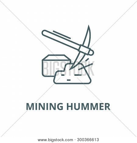 Mining Hummer With Gold Vector Line Icon, Linear Concept, Outline Sign, Symbol