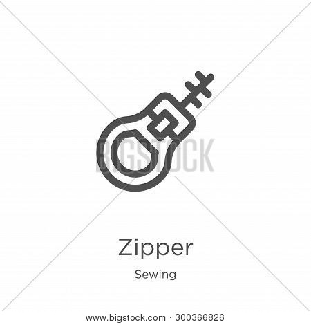 Zipper Icon Isolated On White Background From Sewing Collection. Zipper Icon Trendy And Modern Zippe