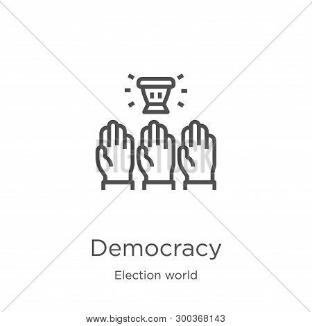 Democracy Icon Isolated On White Background From Election World Collection. Democracy Icon Trendy An