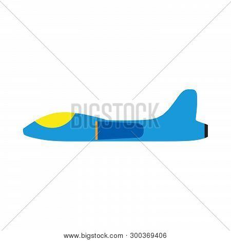 Space Fighter Side View Flat Vector Icon. Flight Transport Aerospace Combat Technology Plane.