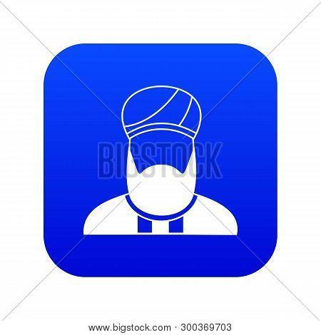 Muslim Preacher Icon Digital Blue For Any Design Isolated On White Vector Illustration