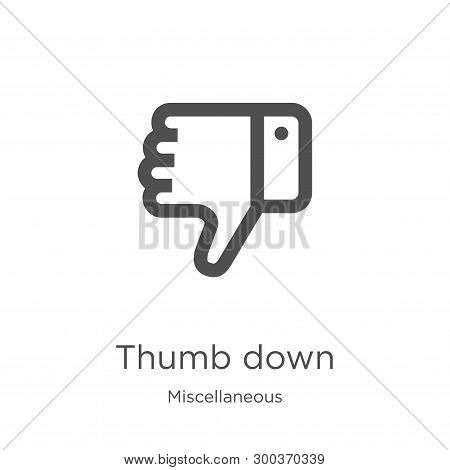 Thumb Down Icon Isolated On White Background From Miscellaneous Collection. Thumb Down Icon Trendy A