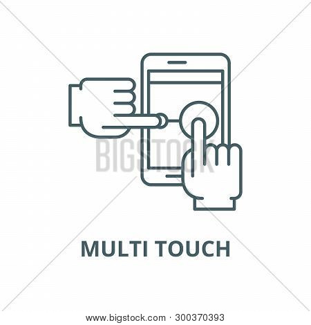 Multi Touch Vector Line Icon, Linear Concept, Outline Sign, Symbol