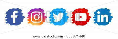 Kiev, Ukraine - April 10, 2019: Set Of Social Media Icons In Drop Form, Printed On Paper: Facebook,