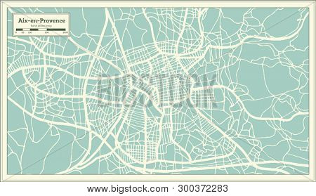 Aix-en-Provence France City Map in Retro Style. Outline Map.