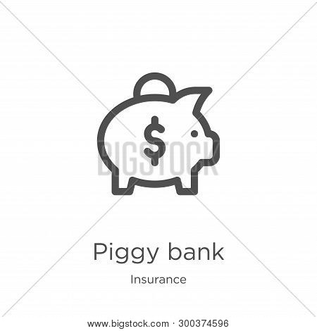 Piggy Bank Icon Isolated On White Background From Insurance Collection. Piggy Bank Icon Trendy And M