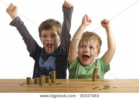 Two Boys Jumping For Joy