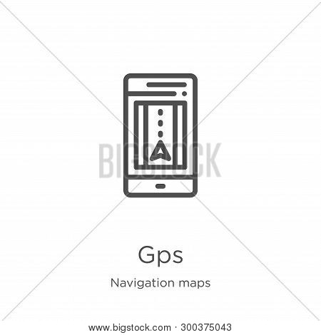 Gps Icon Isolated On White Background From Navigation Maps Collection. Gps Icon Trendy And Modern Gp