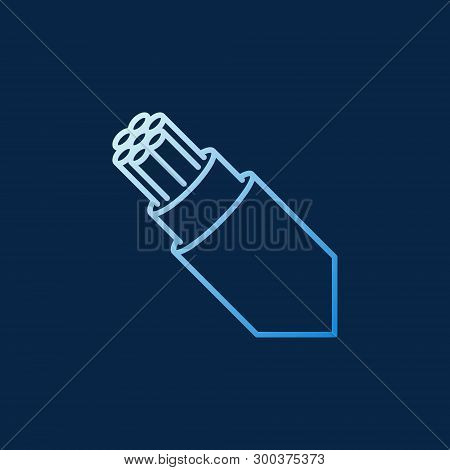 Optical Fiber Breakout Cable Vector Outline Colored Icon Or Logo Element On Dark Background