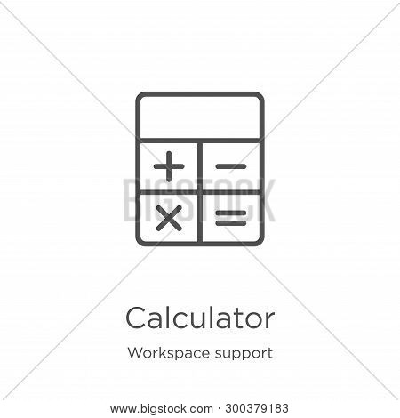 Calculator Icon Isolated On White Background From Workspace Support Collection. Calculator Icon Tren