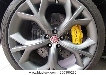Moscow, Russia - May 1, 2019: Interior of Black Jaguar F-Type R on a lift at a Land Rover service center. Repair and diagnostics of the car.  Back side view