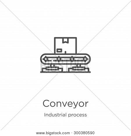 Conveyor Icon Isolated On White Background From Industrial Process Collection. Conveyor Icon Trendy