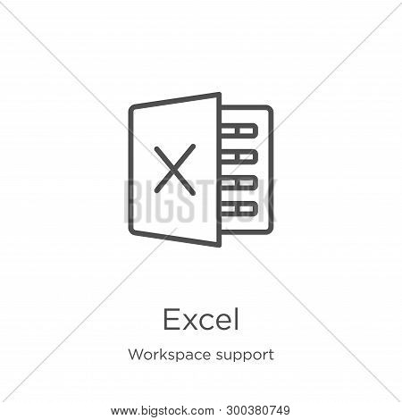 Excel Icon Isolated On White Background From Workspace Support Collection. Excel Icon Trendy And Mod