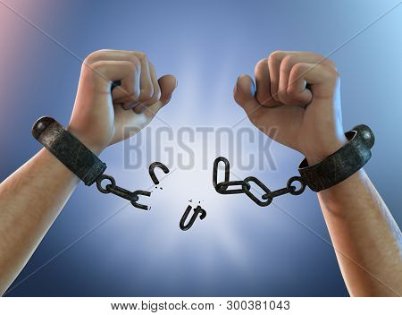 Breaking Free, A Man Breaking Chains, Shackles To Freedom, 3d Render Illustration