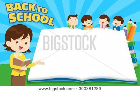 Back To School Kids,education Concept Template With Kids Can Be Used For Web Banner, Backdrop, Ad, P