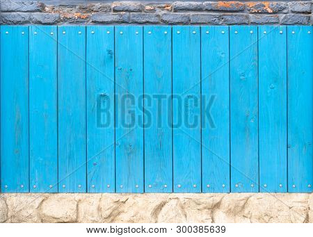 Stock Photo Blue Wood Texture With Stone Texture Background