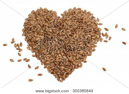 Stock Photo Diet Healthcare Healthy Food Raw Flax Seeds Linseed Heart Shaped On White Background
