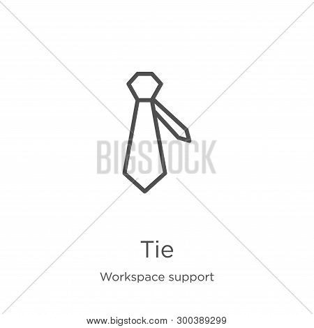 Tie Icon Isolated On White Background From Workspace Support Collection. Tie Icon Trendy And Modern