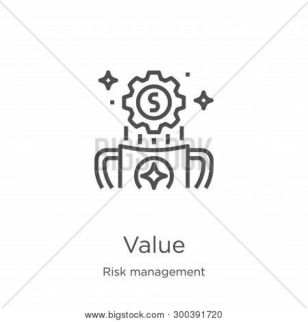 Value Icon Isolated On White Background From Risk Management Collection. Value Icon Trendy And Moder