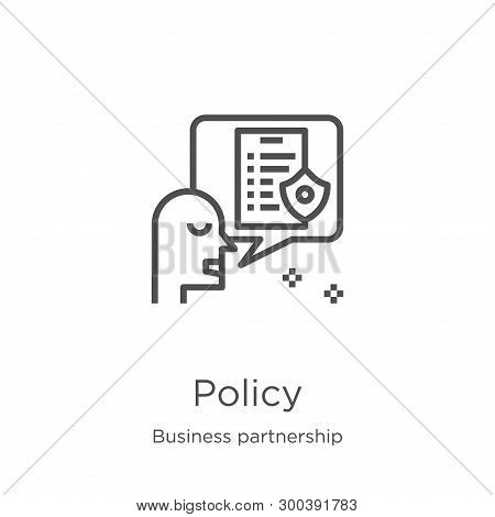 Policy Icon Isolated On White Background From Business Partnership Collection. Policy Icon Trendy An