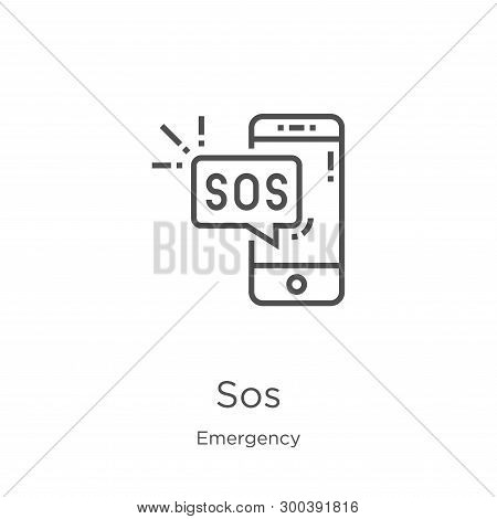 Sos Icon Isolated On White Background From Emergency Collection. Sos Icon Trendy And Modern Sos Symb