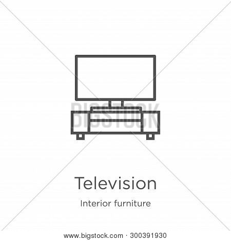 Television Icon Isolated On White Background From Interior Furniture Collection. Television Icon Tre