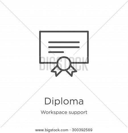 Diploma Icon Isolated On White Background From Workspace Support Collection. Diploma Icon Trendy And