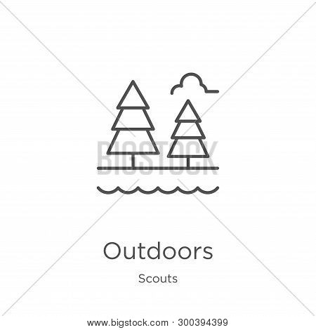 Outdoors Icon Isolated On White Background From Scouts Collection. Outdoors Icon Trendy And Modern O