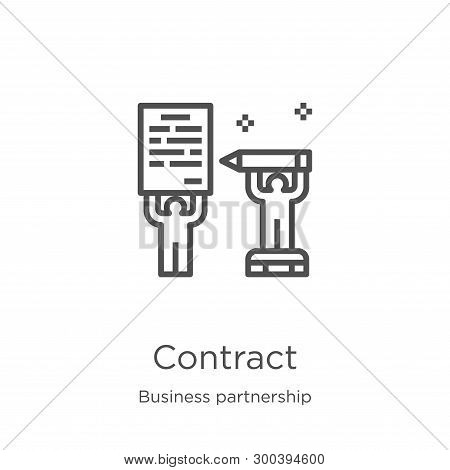 Contract Icon Isolated On White Background From Business Partnership Collection. Contract Icon Trend