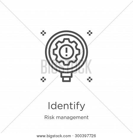 Identify Icon Isolated On White Background From Risk Management Collection. Identify Icon Trendy And