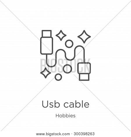Usb Cable Icon Isolated On White Background From Hobbies Collection. Usb Cable Icon Trendy And Moder
