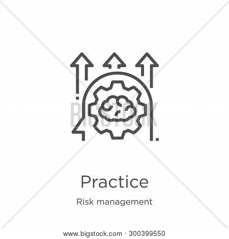 Practice Icon Isolated On White Background From Risk Management Collection. Practice Icon Trendy And