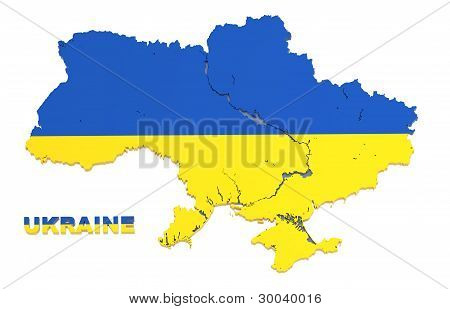 Ukraine, Map With Flag, Isolated On White, With Clipping Path