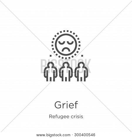 Grief Icon Isolated On White Background From Refugee Crisis Collection. Grief Icon Trendy And Modern
