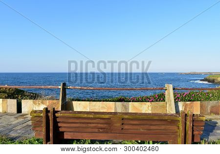Wooden bench on a promenade with handrail and flowers. Blue sea, sunny day. Ribadeo, Spain. poster