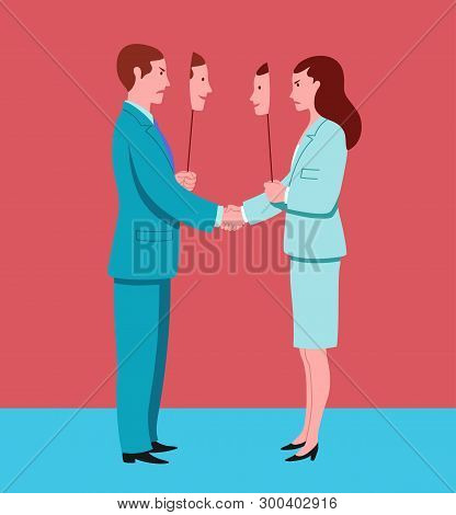 Business Man And Woman Shaking Hands Pretend To Agree And Hide Mutual Hostility. Conceptual Illustra