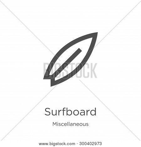 Surfboard Icon Isolated On White Background From Miscellaneous Collection. Surfboard Icon Trendy And