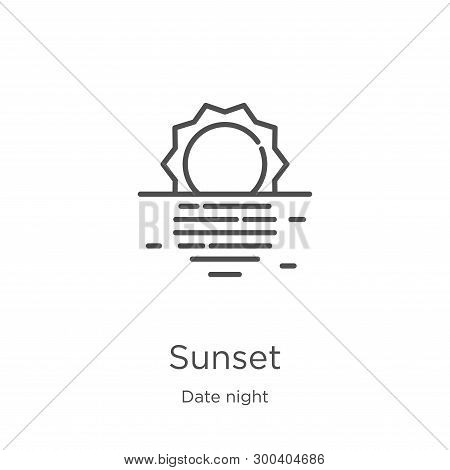 Sunset Icon Isolated On White Background From Date Night Collection. Sunset Icon Trendy And Modern S