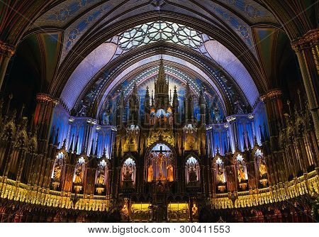 Montreal, Canada - September 28, 2018: Interior Of Notre Dame Basilica.