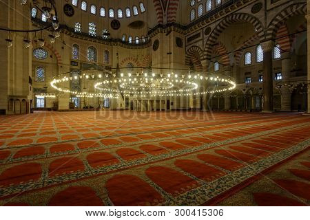 Istanbul, Turkey, January 10, 2015: Interior Of The Suleiman Mosque Suleymaniye Camii Is A Grand 16t