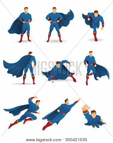 Superhero In Action. Set Of Superhero Character In 9 Different Poses With Blue Cape And Blue Suit. Y
