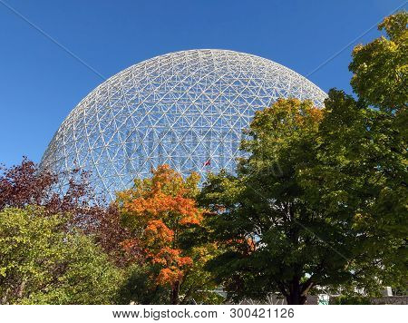 Montreal, Canada - September 28, 2018: The Biosphere Is A Museum In Montreal Dedicated To The Enviro