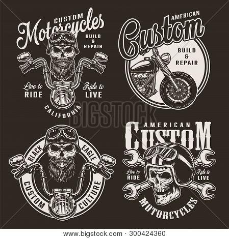 Vintage Custom Motorcycle Logos With Biker And Motorcyclist Skulls In Helmets Motorbike And Crossed