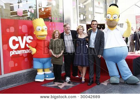 LOS ANGELES, CA - FEB 14: Bart Simpson; Nancy Cartwright; Matt Groening; Yeardley Smith; Hank Azaria; Homer Simpson at a ceremony as Matt Groening gets a star  on February 14, 2012 in Los Angeles, CA